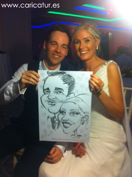 Newlywed couple with caricature drawn on the spot by Allan Cavanagh