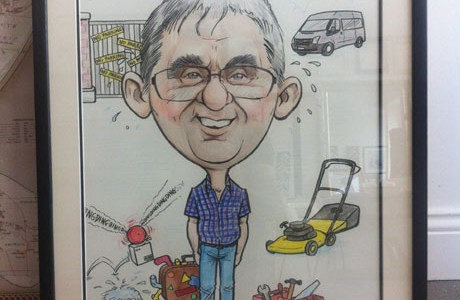 Framed caricature for retirement by Allan Cavanagh