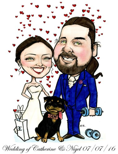 Bride and groom cartoon with pet dog by Allan Cavanagh