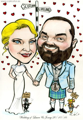Caricaure of newly weds with town mouse and country mouse by Alllan Cavanagh Caricatures Ireland