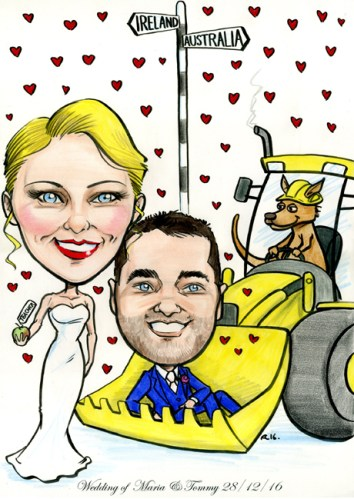 Caricature of couple getting married with digger and kangaroo in the background