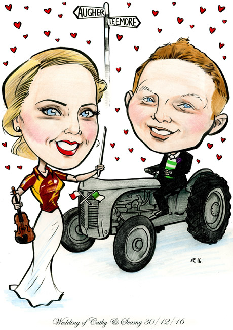 cartoon caricature couple wedding invitations by Allan Cavanagh Caricature Artist Ireland