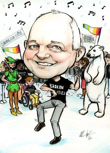 Caricature of a man dancing with Robin Hood, a polar bear, and a crowd of people