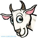 Cartoon of a happy goat
