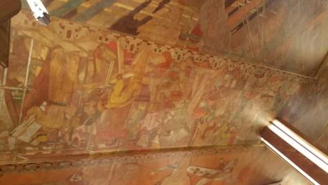 Canvas mural on lobby ceiling
