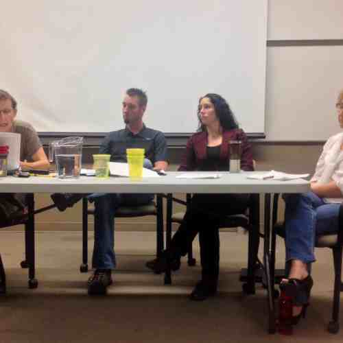 Left to right: Darlene Juschka, Const. Josh Potter, Crystal Giesbrecht, Diane Delaney. / Lauren Neumann