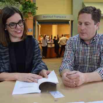 Sophie Bouffard and Peter Dorrington discuss the Caron case. / Michael Chmielewski