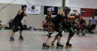 An action shot  of the July 18th roller derby bout./ Hannah Grover