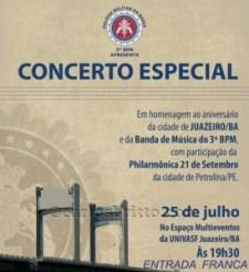 CARTAZ CONCERTO BANDA DE MUSICA DO 3° BPM JUAZEIRO