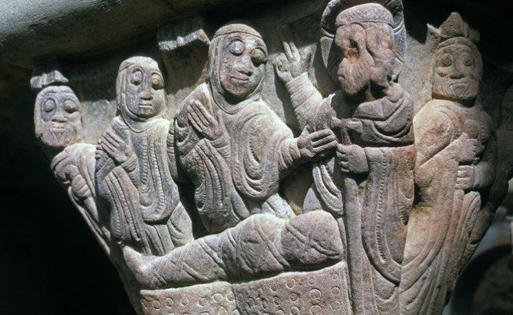 Capitel del Claustro del Monasterio de San Juan de la Peña. Resurrección de Lázaro