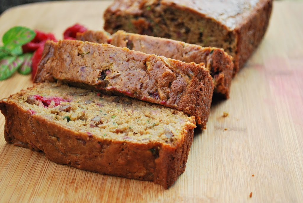 I get really excited about this recipe - raspberries and walnuts in a zucchini bread? Why haven't I been eating this forever?!