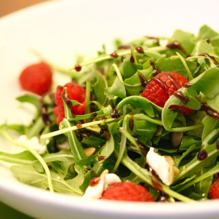 Weeknight Arugula Salad with Goat Cheese and Balsamic Reduction