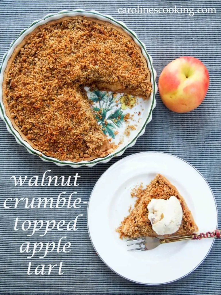 This apple tart has a walnuty crumble topping giving a delicious combination of soft cinnamony apples and crunchy, nutty topping. Comforting & tasty.