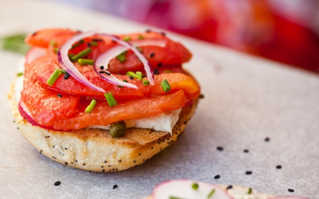 """Vegan NY Style Bagels With Tomato """"Lox"""" and Cashew Cream Cheese"""