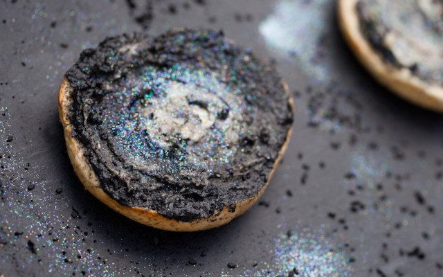 Galaxy Bagels with Sweet Black Tahini and Cashew Cream Cheese