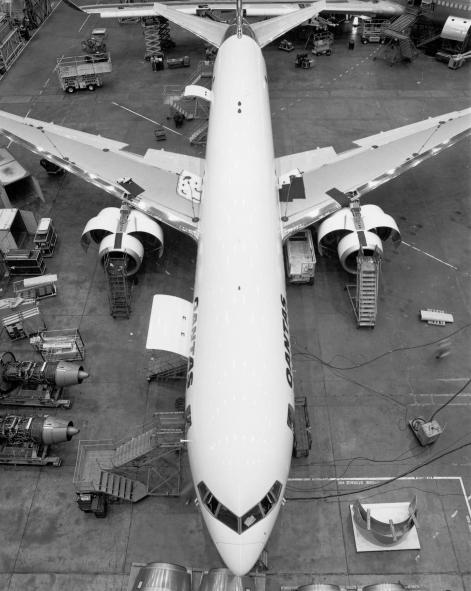 Day 1. VH-OGA on the assembly line. Image: Qantas Heritage Collection