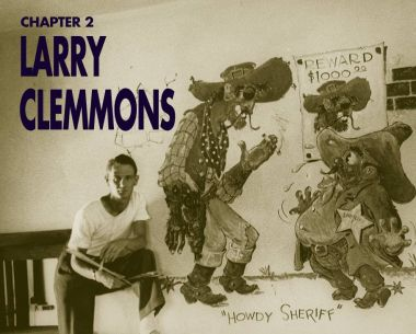 Larry Clemmons standing in front of a mural he painted, 1935.