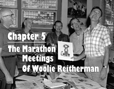 """A Woolie Reitherman meeting on """"Jungle Book"""" with (l. to r.) Milt Kahl, Ollie Johnston, John Lounsbery, Frank Thomas, and Reitherman. Photo via Andreas Deja."""