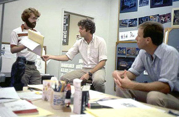 """L to R: Ron Clements, Pete Young and Steve Hulett working on """"The Great Mouse Detective."""""""