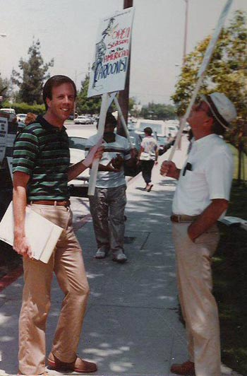 Steve Hulett and Vance Gerry during the first day of the strike.