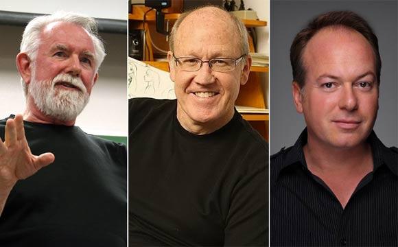 VIEW keynote speakers (l. to r.): Alvy Ray Smith, Glen Keane, Tom McGrath.