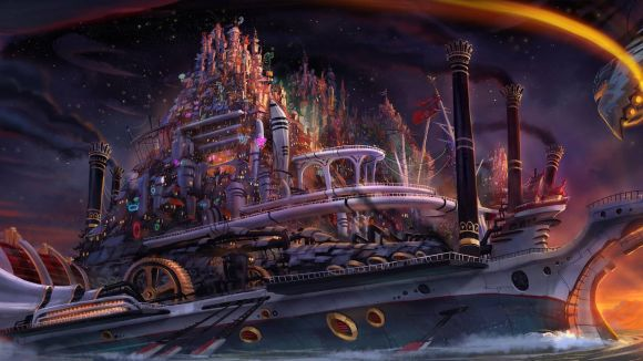 "Concept painting by Paul Sullivan for Jorge Gutierrez's ""Untitled Kung Fu Space Western."" (Click to enlarge.)"