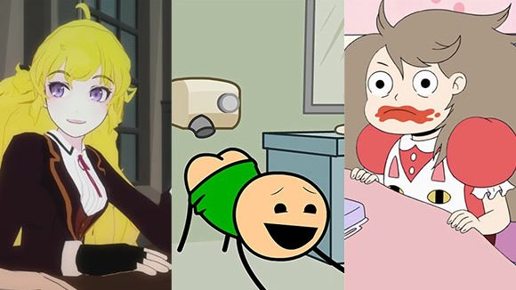 "Three of this year's Streamy nominees in the animation category (l. to r.): ""RWBY,"" ""Cyanide & Happiness,"" ""Bee and Puppycat."""