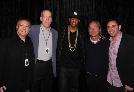 (L-R) Adult Swim/Cartoon Network President and COO Stu Snyder, EVP/GM for Cartoon Network Ad Sales & Marketing John O'Hara, performer/entrepreneur Jay-Z, Adult Swim SVP programming and production Mike Lazzo, and SVP of Ad Sales Josh Feldman attend the Adult Swim Upfront 2011 at The Roseland Ballroom in New York City.