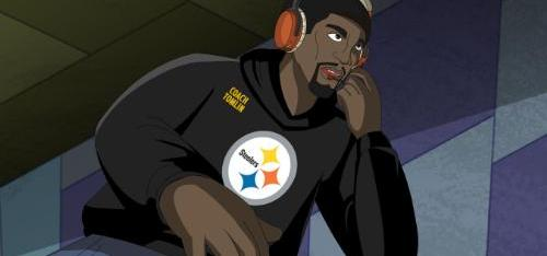 """NICKELODEON TOMLIN RUSH ZONE Steelers' Mike Tomlin joins roster of NFL legends in finale of """"Rush Zone"""" on Nicktoons Feb. 5. (PRNewsFoto/Nickelodeon) NEW YORK, NY UNITED STATES"""