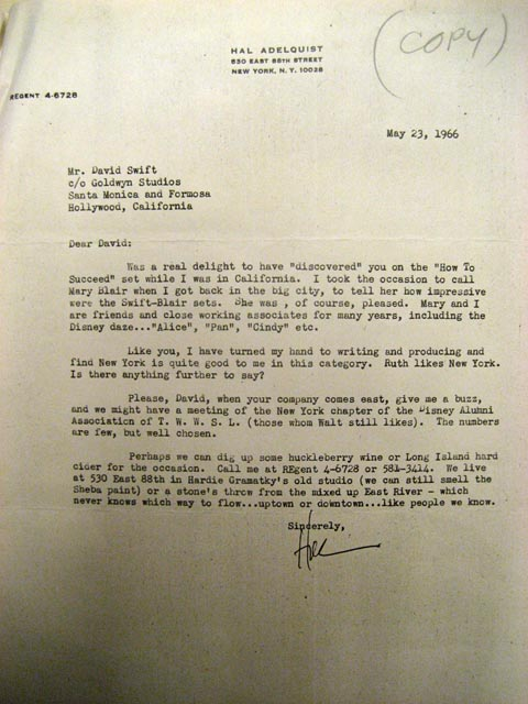 Hal Adelquist Letter