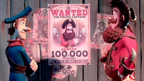 Pirate with a Scarf (voiced by Martin Freeman) and Pirate Captai