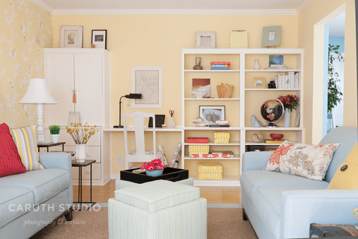 Living room makeover in yellow and blue