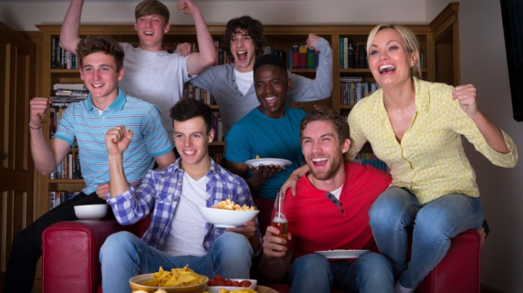 Watching sports on TV, Super Bowl, sports, cheering, football party, sports party