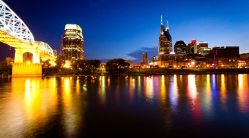 Nashville, Tenessee, Skyline, cityscape, city skyline, night, lights, bridge in Nashville