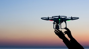 Drone, technology, surveillance, delivery, drones, flying, aerial, dusk.