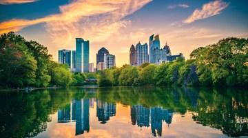 Atlanta, Georgia, skyline, city, cityscape, lake, dusk