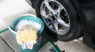 driveway washing, bucket, sponge, car, tire, suds
