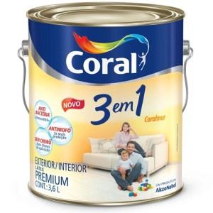 Tinta látex Branco Coral 3 em 1 3,6 L