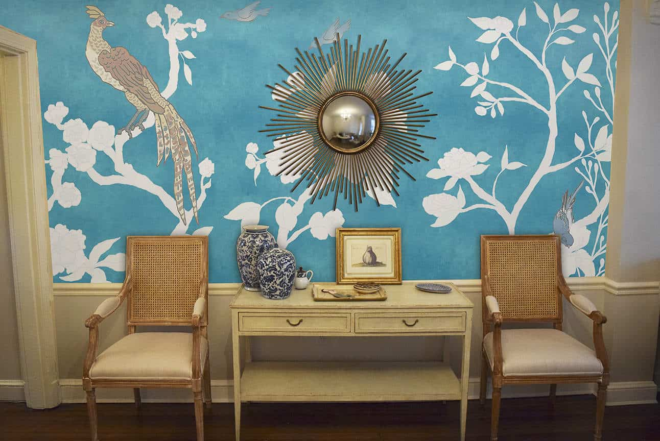 Casart coverings Chinoiserie Room View_Mural Panels White-Asia Blue_temporary wallpaper