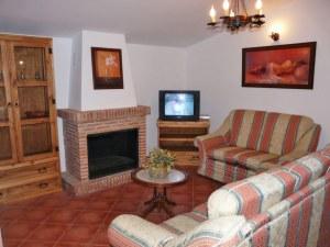 Acogedor salón con chimenea. Dispone de televisión y dvd.