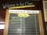 The sign-up chalkboard for tables at Grover's