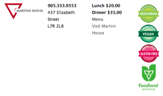 The Taste of Burlington listing for The Martini House