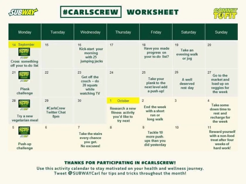 Another Shot at Carl's Crew with Subway Canada — Getting My Life in Gear! — Carl's Crew Calendar Worksheet