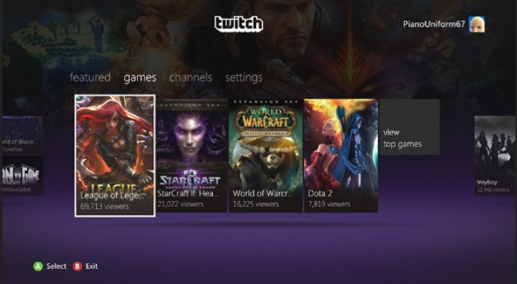 Twitch TV app for the Xbox 360