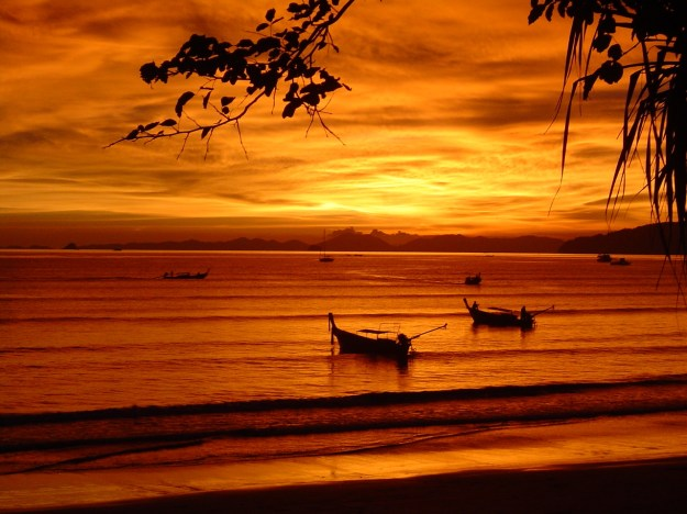 Awesome beach sunset in Krabi Thailand.