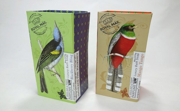 Two single bar soap boxes brightly decorated with colorful birds and geometric prints.