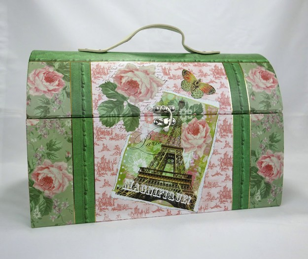 A large, beautifully decorated cosmetic style box with flowers and the eiffel tower.