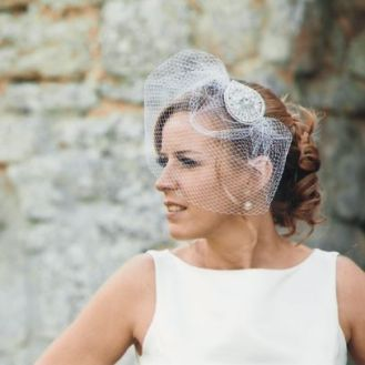 Statement headpiece with a nude lip