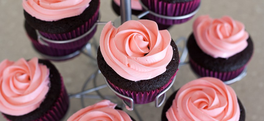 Chocolate Cupcakes with Rose Buttercream