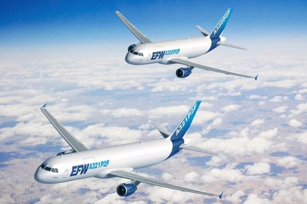 Concepção artística das aeronaves A320 e A321 convertidas em cargueiros. (Foto: Fixion / Airbus)